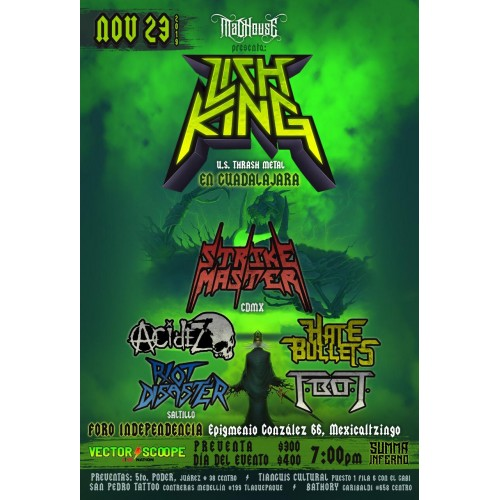 Acidez Band Punk y Lich King 24 Noviembre CDMX Foro Alicia