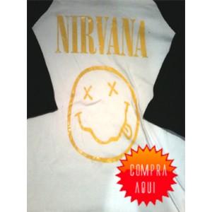 Playera de Nirvana Tres Cuartos ¡Envios a Todo Mexico Gratis!